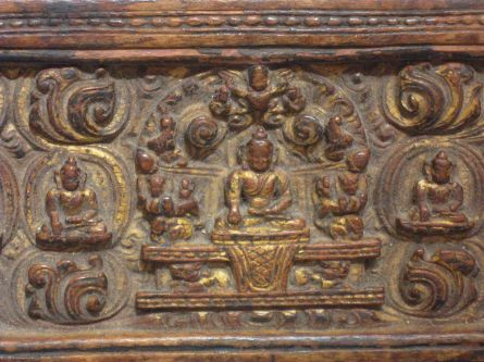 Pair of Tibetan 15th Century Wood Book Covers
